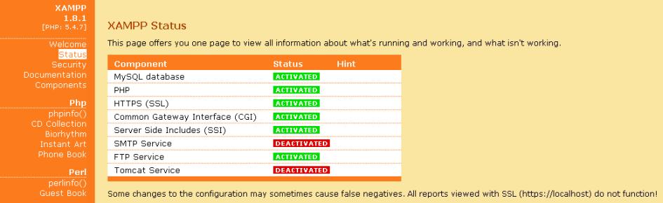 XAMPP Status Page