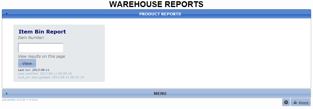 Warehouse Reports with Menu